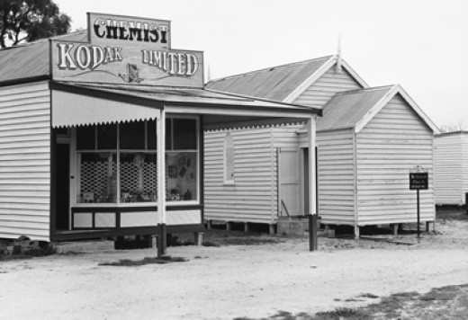 The Blue Gum Gang: typical early Australian Chemist Shop and other buildings
